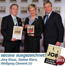 secova ausgezeichnet als Top Job Arbeitgeber 2013 durch Wolfgang Clement
